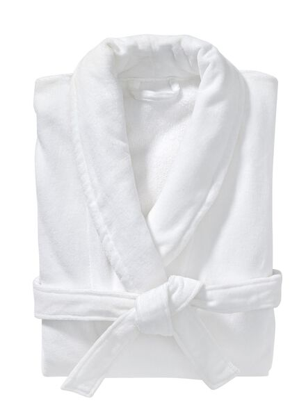 velours badjas met kraag wit wit - 1000002864 - HEMA