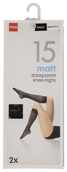 2-pak kniekousen mat zwart one size - 4022571 - HEMA
