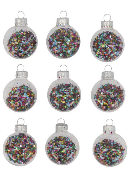kerstballen met confetti - glas Ø 4 cm - 9 stuks - 25103154 - HEMA