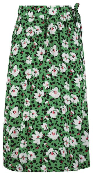 dames overslagrok bloemen groen groen - 1000023997 - HEMA