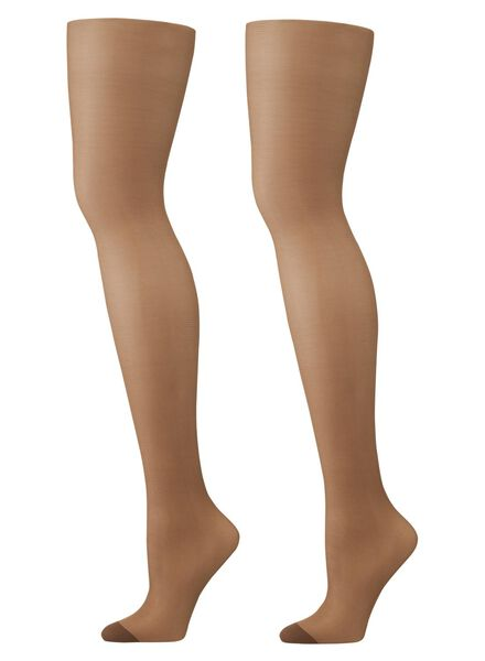 2-pak ondersteunende panty's 15 denier bruin bruin - 1000000757 - HEMA