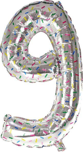 folieballon XL cijfer 9 - confetti zilver 9 - 14200187 - HEMA