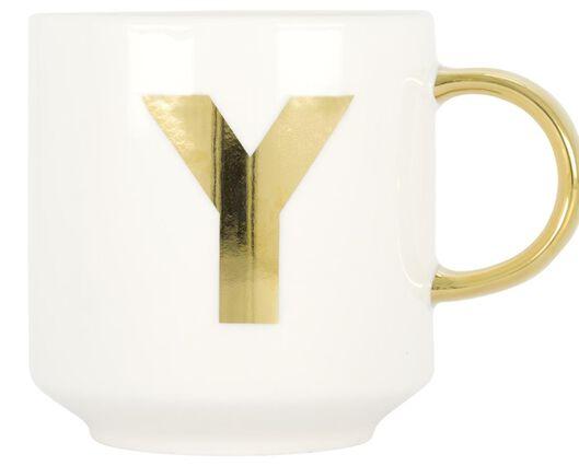 mok aardewerk wit/goud 350 ml - Y - 61120120 - HEMA