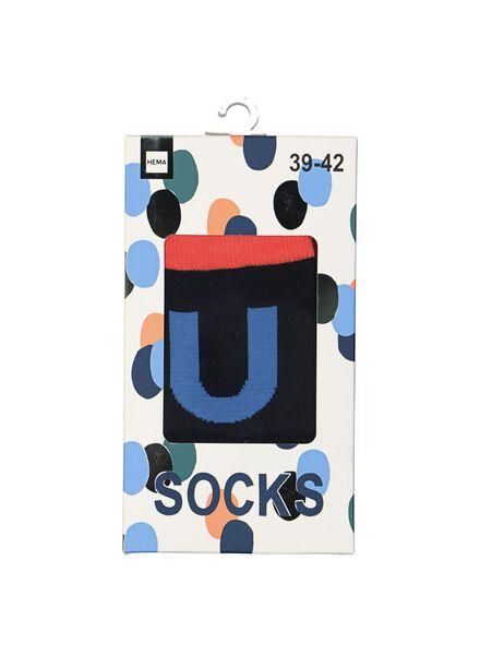 alphabet sokken maat 39/42 grijs grijs - 1000016226 - HEMA