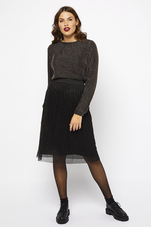 HEMA Damesrok Plissé Zwart (zwart)