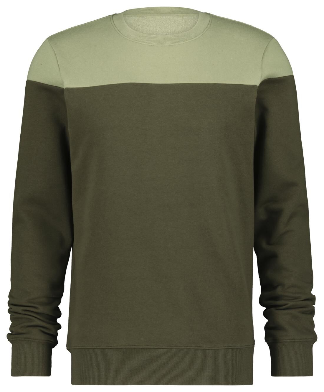 HEMA Herensweater Kleurblokken Legergroen (legergroen)