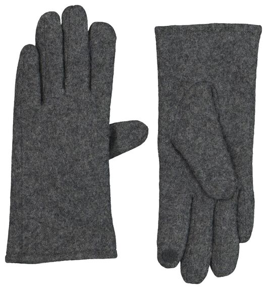 dameshandschoenen wolmix touchscreen donkergrijs donkergrijs - 1000020746 - HEMA