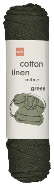 brei en haakgaren katoen/linnen 50gr/83m donkergroen groen cotton linen - 1400202 - HEMA