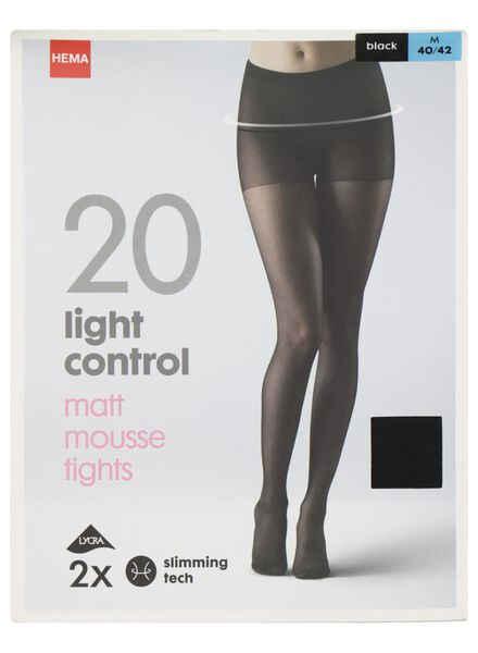 2-pak panty light control matt-mousse 20 denier zwart 48/52 - 4042294 - HEMA