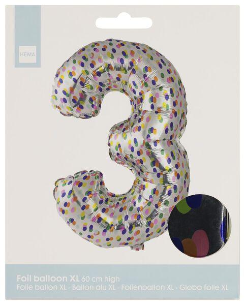 folieballon XL cijfer 3 - confetti zilver 3 - 14230273 - HEMA