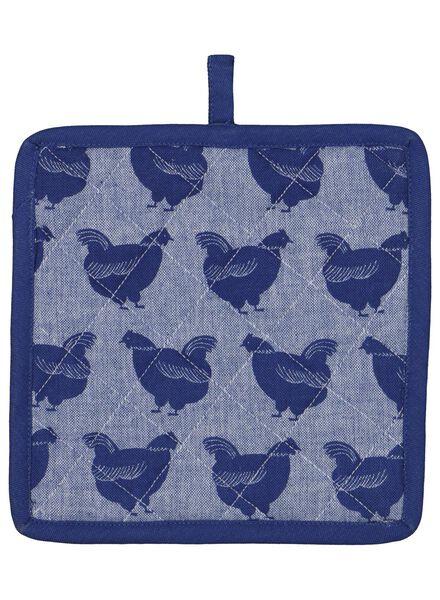 pannenlap - 21 x 21 - katoen - blauw kippen - 5400153 - HEMA