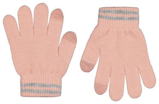 kinderhandschoenen met touchscreen glitters - 2 paar roze - 1000020850 - HEMA