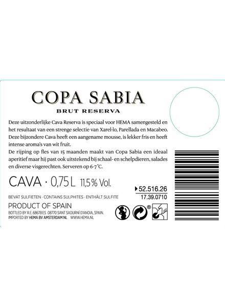 Copa Sabia cava brut 0.75L - 17390710 - HEMA