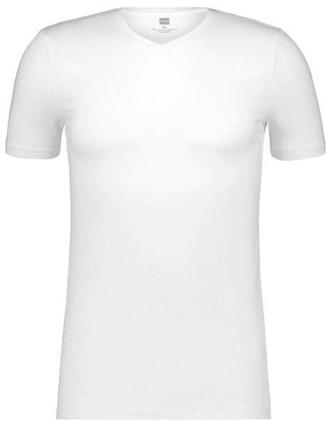 heren t-shirt slim fit v-hals wit wit - 1000009991 - HEMA