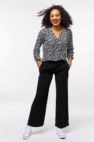 dames top gerecycled zwart/wit XL - 36389859 - HEMA