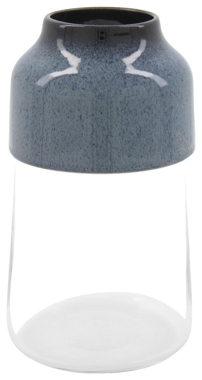 HEMA Vaas Ø13x23cm - Glas/aardewerk (blauw)
