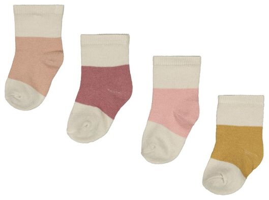 babysokken met bamboe - kleurblokken - 4 paar roze roze - 1000023522 - HEMA