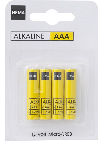 4-pak AAA batterij alkaline. - 41210042 - HEMA