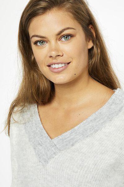 damestrui met v-hals gebreid naturel - 1000021158 - HEMA
