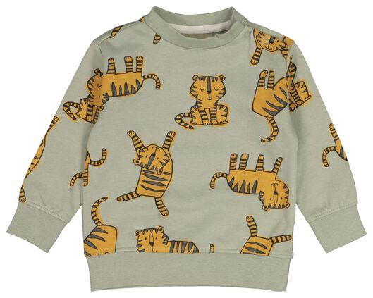 babysweater tijgers olijf 68 - 33111942 - HEMA
