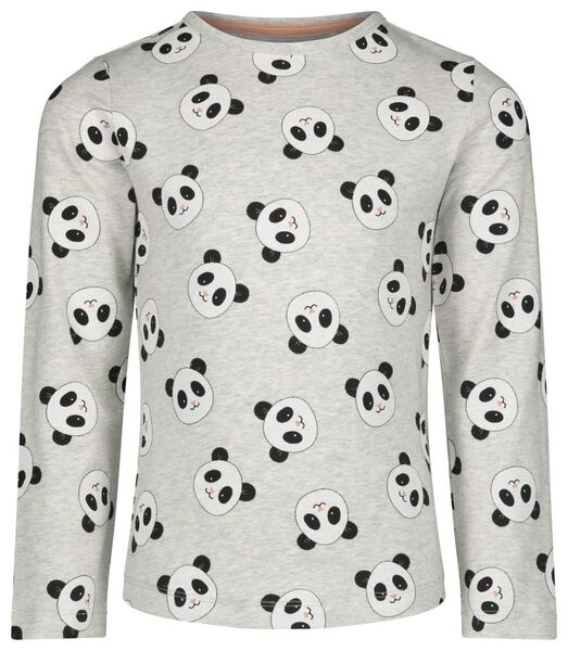 kinderpyjama met bamboe panda grijsmelange - 1000021077 - HEMA