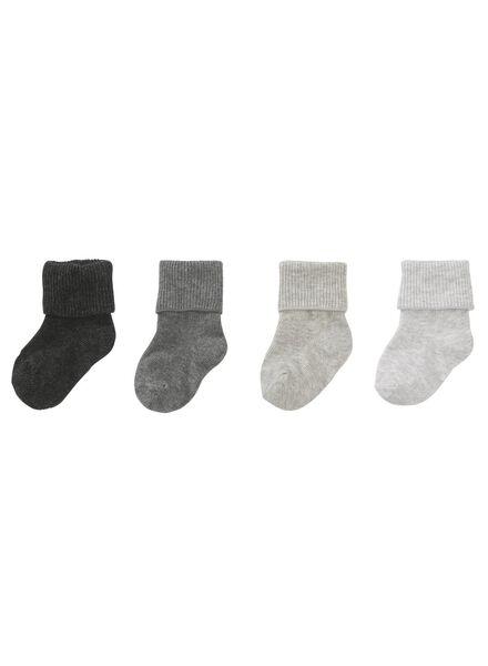 4-pak babysokken grijsmelange grijsmelange - 1000009518 - HEMA