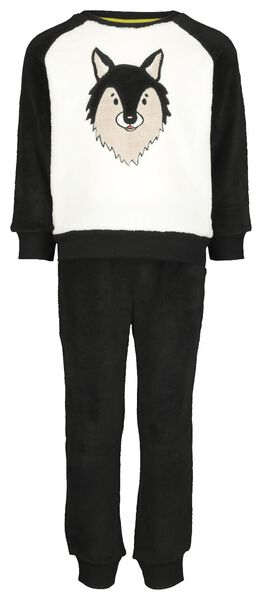 kinderpyjama fleece wolf zwart zwart - 1000020778 - HEMA
