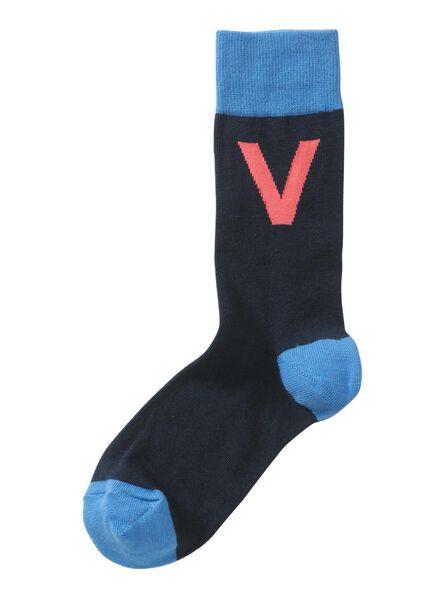 sokken maat 39-42 met letter V grijs V - 60530043 - HEMA