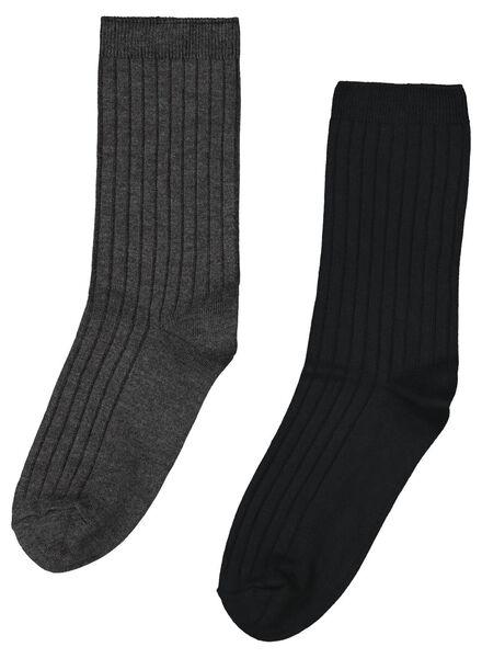 2-pak damessokken modal zwart zwart - 1000017155 - HEMA
