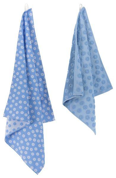 thee- en keukendoek bloemen - katoen - blauw - 5490025 - HEMA