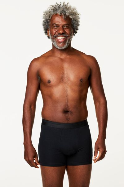 herenboxers lang real lasting cotton - 2 stuks zwart zwart - 1000009933 - HEMA