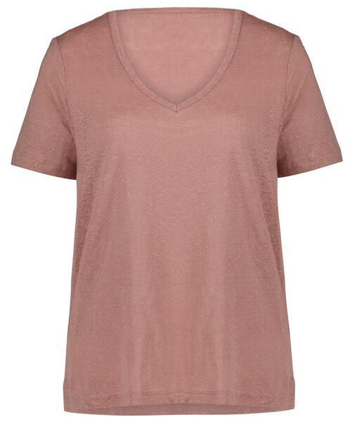 dames t-shirt linnen roze roze - 1000024306 - HEMA