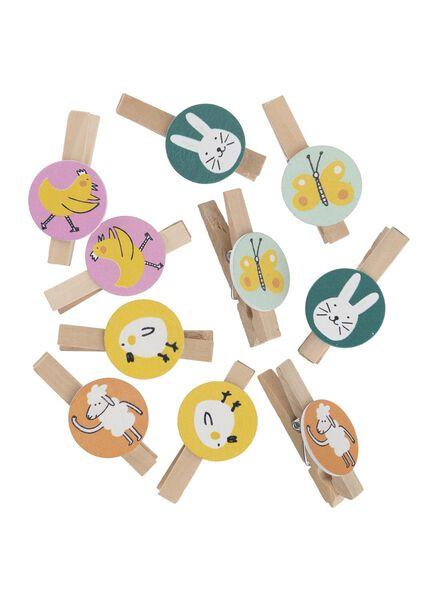 10-pak houten knijpers met paasfiguren - 25820128 - HEMA