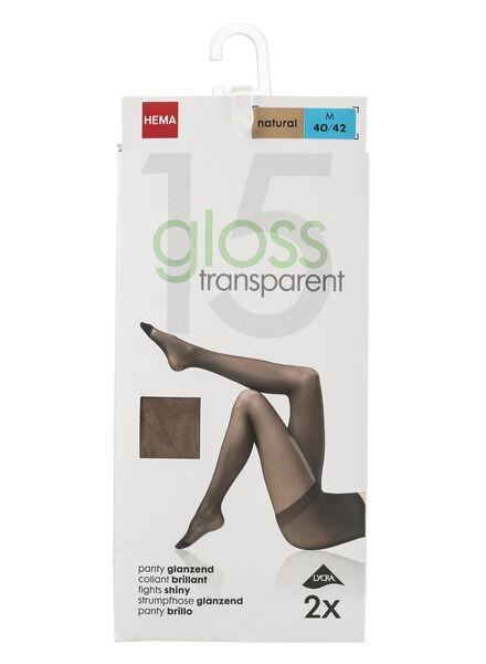 2-pak glans panty's 15 denier - natural naturel naturel - 1000000760 - HEMA