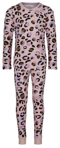 kinderpyjama katoen/stretch luipaard lichtroze 134/140 - 23094225 - HEMA