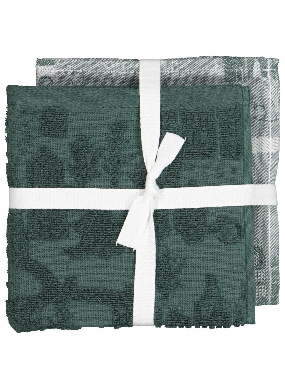 HEMA Thee- En Keukendoek Huisjes 2 Stuks (groen)