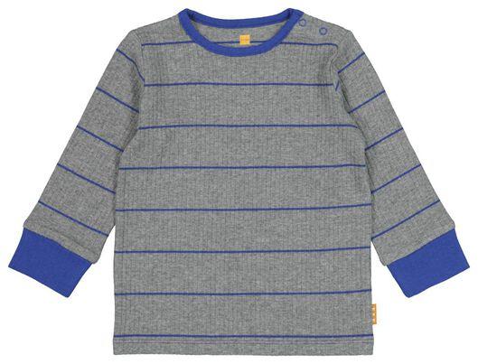 babypyjama rib met bamboe stretch grijsmelange - 1000021018 - HEMA