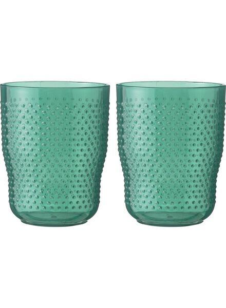 drinkglazen - 9.5 cm - reliëf kunststof - transparant groen 2 stuks - 80630593 - HEMA