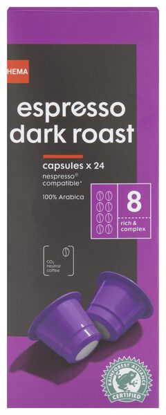 koffiecups espresso dark roast - 24 stuks - 17180006 - HEMA