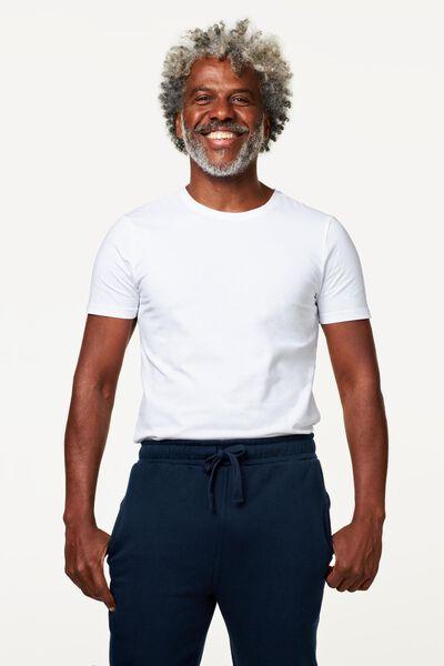 heren t-shirt slim fit wit wit - 1000009947 - HEMA