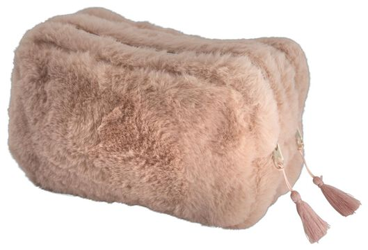 etui met dubbele rits fluffy roze/zwart - 14410016 - HEMA
