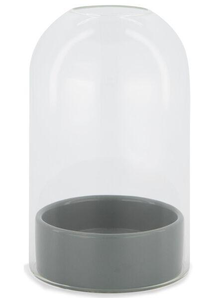 vaas met stolp - 17 cm - groen keramiek - 13392014 - HEMA