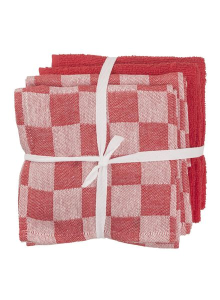 thee-en keukendoeken - katoen - rood - 4 stuks - 5450018 - HEMA