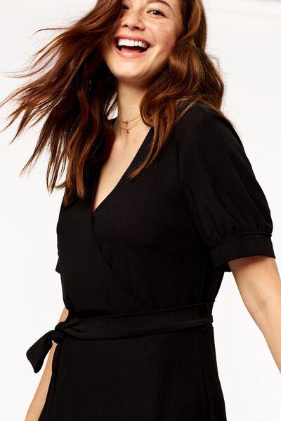 dames jurk met overslag zwart zwart - 1000024810 - HEMA