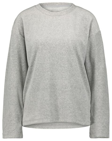 dames sweater velours lichtgrijs lichtgrijs - 1000021295 - HEMA