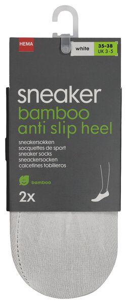 2-pak dames sneakersokken met bamboe wit wit - 1000018886 - HEMA