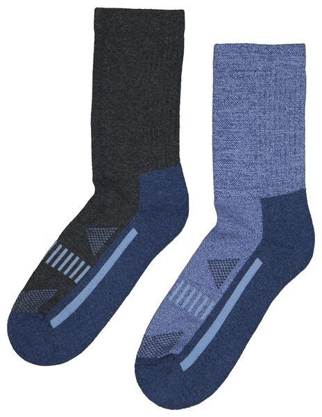 wandelsokken - 2 paar blauw 39/42 - 4460027 - HEMA