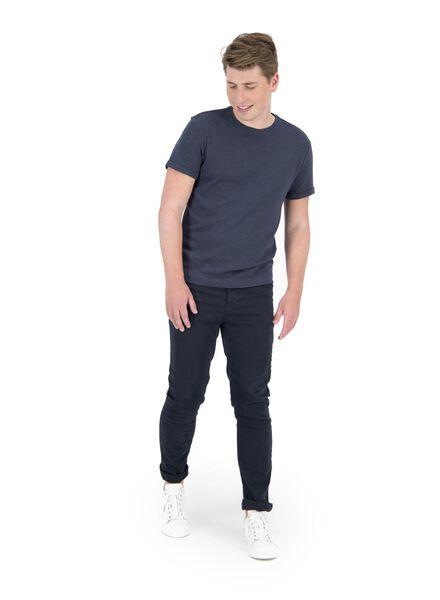 heren t-shirt ribbel blauw blauw - 1000014893 - HEMA