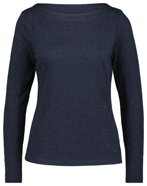 dames t-shirt glitter donkerblauw - 1000021676 - HEMA