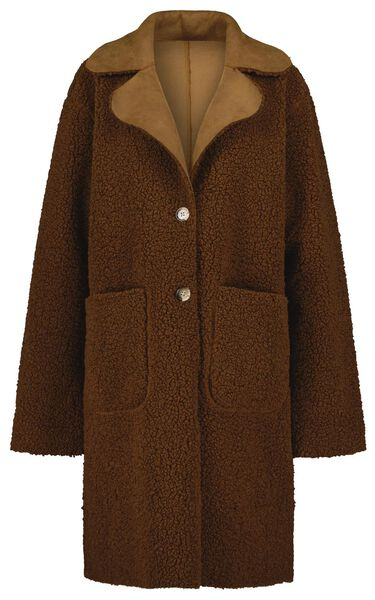 damesjas teddy reversible bruin XL - 36223909 - HEMA